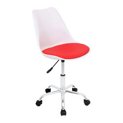 """Lumisource - Petal Office Chair, White/Red - 20.5""""L x 20 W x 32"""" to 36"""" H (Seat Height 18.5"""" to 22.5"""" H) (Seat Width 18.5"""" ) (Seat Depth 16.5"""" ) (Back Height 15.5"""" )"""
