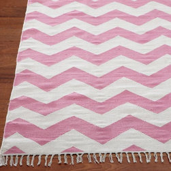 Chevron Rug, Pink - Here's something pretty for the floor. This rug comes in several sizes to fit your little girl's space!