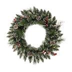 "Vickerman - Snow Tip Pine/Berry Wreath 35CL (24"") - 24"" Snow Tipped Pine/Berry Wreath  35 Clear Mini Lights, 95 PVC Tips, Pine Cones, Vines and Berries"
