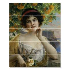 Picture-Tiles, LLC - Beauty Under The Orange Tree Tile Mural By Emile Vernon - * MURAL SIZE: 40x32 inch tile mural using (20) 8x8 ceramic tiles-satin finish.