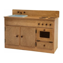 Amish Handcrafted - Oak Wooden Toy Kitchen Sink Stove Oven Combination Waldorf - Handmade Wooden