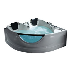 Ariel - Ariel BT-150150 Whirlpool Bathtub - Is your interest piqued? This whirlpool tub is built for two with contoured seats, cushions and nine strong massage jets that will take you to the peak of comfort. It also has a built-in microcomputer, an LCD control panel, a handheld shower, and a unique peekaboo window made of fiberglass reinforced acrylic.