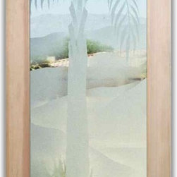 """Interior Glass Doors - Queen Palm 2D - CUSTOMIZE YOUR INTERIOR GLASS DOOR!  Interior glass doors or glass door inserts.  .Block the view, but brighten the look with a beautiful interior glass door featuring a custom frosted glass design by Sans Soucie!  ship for just $99 to most states, $159 to some East coast regions, custom packed and fully insured with a 1-4 day transit time.  Available any size, as interior door glass insert only or pre-installed in an interior door frame, with 8 wood types available.  ETA will vary 3-8 weeks depending on glass & door type........  Select from dozens of sandblast etched obscure glass designs!  Sans Soucie creates their interior glass door designs thru sandblasting the glass in different ways which create not only different levels of privacy, but different levels in price.  Bathroom doors, laundry room doors and glass pantry doors with frosted glass designs by Sans Soucie become the conversation piece of any room.   Choose from the highest quality and largest selection of frosted decorative glass interior doors available anywhere!   The """"same design, done different"""" - with no limit to design, there's something for every decor, regardless of style.  Inside our fun, easy to use online Glass and Door Designer at sanssoucie.com, you'll get instant pricing on everything as YOU customize your door and the glass, just the way YOU want it, to compliment and coordinate with your decor.   When you're all finished designing, you can place your order right there online!  Glass and doors ship worldwide, custom packed in-house, fully insured via UPS Freight.   Glass is sandblast frosted or etched and bathroom door designs are available in 3 effects:   Solid frost, 2D surface etched or 3D carved. Visit our site to learn more!"""