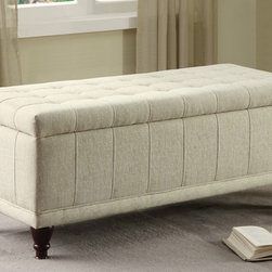 Homelegance - Homelegance Afton Lift Top Storage Bench Cream Fabric - Providing stylish storage space in your home is the Afton Collection. The tufted lift top storage ottoman is offered in a cream fabric or dark brown bi-cast vinyl. Turned legs support this lovely accent piece. - 4730NF.  Product features: Afton Collection; Transitional Style; Upholstered in cream fabric or dark brown bi-cast vinyl; Tufted lift top storage ottoman; Turned legs. Product includes: Bench (1). Lift Top Storage Bench belongs to Afton Collection by Homelegance.