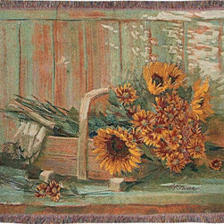 Manual - Harvest Moon Sunflower Themed Tapestry Throw Blanket 50 Inch x 60 Inch - This multicolored woven tapestry throw blanket is a wonderful addition to the decor of any flower lover. Made of cotton, the blanket measures 50 inches wide, 60 inches long, and has approximately 1 1/2 inches of fringe around the border. The blanket features a print of a wooden basket, filled with cut sunflowers and marigolds. Care instructions are to machine wash in cold water on a delicate cycle, tumble dry on low heat, wash with dark colors separately, and do not bleach. This comfy blanket makes a great housewarming gift that is sure to be loved.