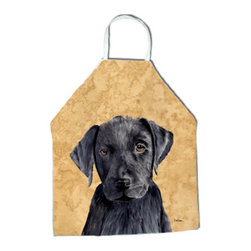 "Caroline's Treasures - Labrador Apron - Apron, Bib Style, 27""H x 31""W; 100% Ultra Spun Poly, White, braided nylon tie straps, sewn cloth neckband. These bib style aprons are not just for cooking - they are also great for cleaning, gardening, art projects, and other activities, too!"