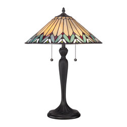 Quoizel - Quoizel Bronze Patina Lamps - SKU: TF1433T - A delicate color palette distinguishes the Pearson table lamp featuring an Authentic Bronze patina and 240 pieces of Tiffany-style art glass that have been hand-assembled using the copper foil method developed by Louis Comfort Tiffany. It stands 23 inches high and takes two 75-watt medium-base bulbs.