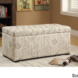 Office Star Products - Ave Six Sahara Tufted Storage Bench with Easy-care Fabric & Slam Proof Lid - The perfect storage strategy for your home,the Sahara Tufted Storage Bench gives you peace of mind in always having the ideal place to store your extra house goods,keeping your home free of clutter & inviting for unexpected friends or family.
