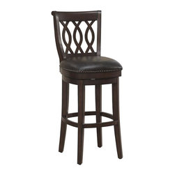 """American Heritage - Prado Bar Stool (Bar Height Stool) - Choose Stool: Bar Height Stool. Finished in navajo with tobacco bonded leather upholstery. The Prado also features a full-bearing 360° swivel, mortise and tenon construction. Fully-integrated back support, adjustable leg levelers, individual tacks and a 3"""" cushion.  It also comes complete with a 1 year warranty. Clean with a damp cloth; warm water only. Counter Height Stool: 19 in. W x 23 in. D x 41 in. H (25 lbs). Bar Height Stool: 19 in. W x 23 in. D x 45 in. H (27 lbs)"""