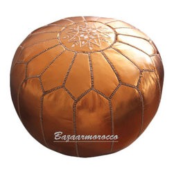 Moroccan Leather Footstool Pouf Light Bronze - Moroccan Leather Pouf Ottoman footstool.
