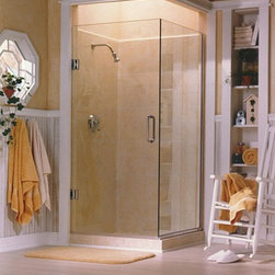 Bath enclosures - Alumax Wall-Mount Hinges create an uncluttered, all-glass look for this 3/8″ glass door with a 90 degree return panel.