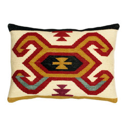 Loominary - Lumbar Kilim Pillow - Add exotic beauty and timeless style to the sofa, settee, armchair or master bed with this stunning pillow from Loominary. Showcasing a rich kilim wool front side zipper and cotton backing, this pillow is artfully handcrafted by Indian artisans from genuine handmade kilims. Our pillows are filled with Royal cluster polyester fiber.