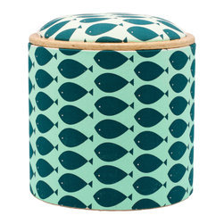 Pomada - Fish Turquoise Box Ottoman - This stool has gone to style school. The round storage base — made of Teco-certified OSB — is upholstered in a sea of white with a school of hand printed turquoise fish. The removable and reversible top can be used as either a padded perch or footstool — or as a side table. It'll have you hooked.