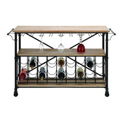 """Woodland Imports - Classic and Lovely Bar on Wheel - Metal Wood Wine Table 48""""W, 31""""H Home Decor - Classic and lovely inspired bar on wheel - metal wood wine table 48""""w, 31""""h living and family room home accent decor"""
