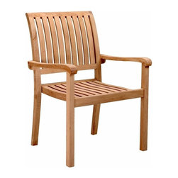 Anderson Teak - Aspen Unfinished Stackable Armchair - Set of 4 - Stackable armchairs let you add extra guests at the table or seat customers in private groups on outdoor patios.  Teak crafting provides solid support for slat seats and backs that are curved for ergonomic support.  Generously sized for added comfort, too. * Set of 4. Slat back and seat design. With arms. Easy to storage, just stack it and you will save place. Teak wood construction. Classic design. No assembly required. 25 in. W x 19 in. D x 36 in. H (22 lbs.)Our Teak Stacking Chair is a versatile design, which makes this most popular. Simple and stylish for all your outdoor needs. Compliments all of our Teak dining, coffee and folding tables. Can easily stack 4 chairs high. It is a beautiful addition to your garden, backyard or patio furniture.