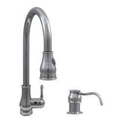 "Dyconn Faucet - Dyconn Faucet Baltic TB001-A17 18-Inch Modern Single Handle Pull Out Dual Spray - Upgrading your kitchen is easy with our Dyconn 18"" Modern Kitchen Polished Chrome Pull-Out Faucet. Also included is a matching Soap Dispenser and Plate Cover. The high arc swivel spout and the pull out spray (dual spray control, stream or spray) makes this design both functional and a classy addition to any home. Whether your decorating style is traditional or modern, our products will compliment your home improvement project and add a lavish, luxurious feel while protecting your health, safety and the environment. All of our faucets comes with a 5 year manufacturer warranty. Package includes faucet, Hot & Cold water hoses, mounting hardware, matching soap dispenser & plate cover and installation instructions."