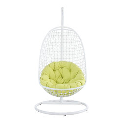 LexMod - Encounter Wicker Rattan Outdoor Wicker Patio Swing Chair  Suspension Series - Sift through the sands of silent contemplation with this fanciful outdoor swing chair. Encounter is your guide through periods of growth and change. With a sturdy outdoor white metal stand and plush fluorescent green seating, set your sights on an awakened sense of confidence while safely ensconced from an elevated vantage point.