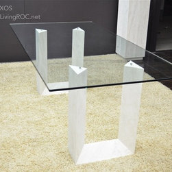 """NAXOS 79""""x39""""x29"""" TRAVERTINE MARBLE GLASS DINING TABLE - Reference: DT101+DT101GLASS"""