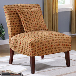 None - Autumn Windows Accent Chair - These beautiful living room chairs feature a contemporary print that is unique. The high back provides great back support and the plush seat ensures your guests can sit comfortably. A matching accent pillow is included to complete the look.