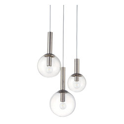 Sonneman - Nickel Bubbles 3 Light Pendant with Clear Shade - Lamping Technology: