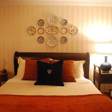 Traditional Bedroom Decorating with plates
