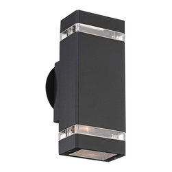 "Possini Euro Design - Possini Euro Rectangular Black Up/Down Outdoor Wall Light - Sleek styling and a black finish give this outdoor wall light from Possini Euro Design a contemporary feel. The rectangular design includes clear glass inserts that allow accents of light out the sides and bulbs in the top and bottom direct light up and down.  Die-cast aluminum construction.  Black finish.  Clear glass inserts.  Includes two 35 watt GU10 halogen bulbs.  10 1/2"" high.   4 1/2"" wide.   Extends 4 1/4"" from the wall."