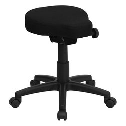 Flash Furniture - Black Saddle-seat Utility Stool with Height and Angle Adjustment - This backless stool is practical for any fast-paced environment. The small frame design of a backless stool makes it easy to maneuver around tight spaces with ease. This stool can be used in a multitude of environments from the Classroom/ Doctor's Offices/ Hospitals/ Garages and Workshops.