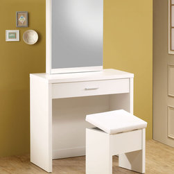 Coaster - 300290 2-Piece Vanity Set - White - These sleek contemporary vanity sets will be a welcomed addition to your master bedroom. Featuring a large mirror that slides open to reveal hidden jewelry storage compartments and hooks as well as a pull-out drawer which has been divided to make organizing more convenient. A matching stool with storage space is included. Available in a glossy cappuccino or white finish.
