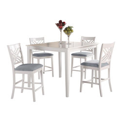 Standard Furniture - Standard Furniture Brooklyn White Square Counter Height Table with 4 Chairs - Brooklyn white has smooth transitional styling and great detailing on its focal point chairs with their triple x-back motif that forms an open lattice element.