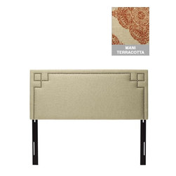Home Decorators Collection - Custom Cordelia Upholstered Headboard - A line of hand-applied nail buttons traces out an angular inset border on our Custom Cordelia Upholstered Headboard. This fabric headboard features custom upholstery; you choose from our wide range of gorgeous fabric options. Includes nailhead trim. Includes hardware to attach to most standard bed frames. Assembled to order in the USA and delivered in 4-6 weeks. Spot clean only.