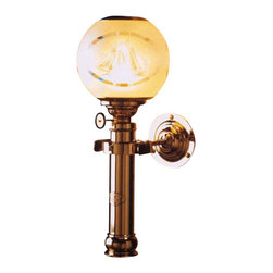 """Weems & Plath Danish Captain's Cabin Oil Lamp w/ Compass Globe - Features four-way gimbal and a 5"""" handmade acid-frosted globe (135 mm) with compass motif. The globe is securely fastened with a clip-on spring in stainless steel. Hand polished and lacquered brass. 0.24"""" (6mm) circular burner, Height 15.35"""" (390 mm), Oil Container Capacity: 4 oz, Burn Time: +/- 9 hours with clean burning lamp fuel. It weighs 4 lbs. 8 oz."""