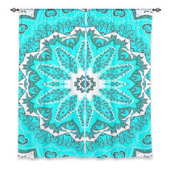 """DiaNoche Designs - Window Curtains Lined by Monika Strigel Fairy Dream Mandala Fresh Mint - Purchasing window curtains just got easier and better! Create a designer look to any of your living spaces with our decorative and unique """"Lined Window Curtains."""" Perfect for the living room, dining room or bedroom, these artistic curtains are an easy and inexpensive way to add color and style when decorating your home.  This is a woven poly material that filters outside light and creates a privacy barrier.  Each package includes two easy-to-hang, 3 inch diameter pole-pocket curtain panels.  The width listed is the total measurement of the two panels.  Curtain rod sold separately. Easy care, machine wash cold, tumble dry low, iron low if needed.  Printed in the USA."""