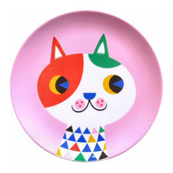 Helen Dardik Melamine Plate Cat - One 8 inch Helen Dardik Cat print on pink 100% melamine plate. Perfect for children, outdoor entertaining or everyday light lunch or snack. BPA and Phthalate free. Dishwasher safe; not suitable for microwave use.