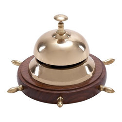 "Benzara - Authentic Aluminum Metal Table Bell - Aluminum Table Bell features authentic aluminum metal, polished and refined, to ensure quality. Remains like new even after years. Great table decor for home and offices.; Material: Aluminum; Color: Brown as shown in picture; Exhibits special liking for nautical decoration; A class apart gift; Involving decoration that attracts everyone; Dimensions: 6""W x 4""H"