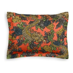 Red Chinoiserie Dragon Custom Sham - The Simple Sham may be basic, but it won't be boring!  Layer these luxurious reversible shams in various styles for a bed you'll want to fall right into. We love it in this modern chinoiserie dragon in red, teal, gray and gold. So chic it will steal the show in any room.