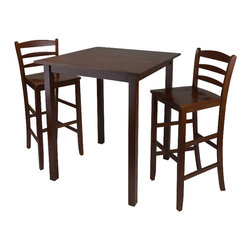 Winsome - Winsome Parkland 3 Piece Square Dining Set in Antique Walnut Finish - Winsome - Dinette Sets - 94359 -