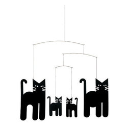 Flensted Mobiles - Cats Mobile - The cat's meow! If you're a cat lover, this mobile is a must-have. It's also great to hang as a Halloween decoration. The slightest puff of air will set this pack of black cats on the prowl.\