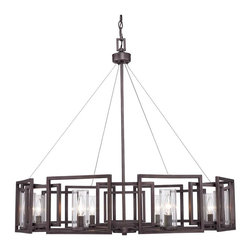 Golden Lighting - Golden Lighting Marco 8 Light Chandelier - Clean geometry is the focus of the contemporary design Gunmetal Bronze gives warm bronze undertones to a modern industrial finish Clear glass cylinders encase candelabra bulbs A chandelier creates a stylish focal point Graciously sized for taller dining and living areas