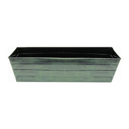 Achla - 36 inch Galvanized Tin Window Box - Fill this spacious 36-inch attractive green tone, galvanized tin window box with your favorite flowers.  It is perfect for adding color to your patio, porch, or deck .You will be pleased with this box that is durable and rust resistant. * Finish: Powder Coated - Green Patina . Construction: Galvanized Tin. 36 in. W x 12 in. D x 9.5 in. H