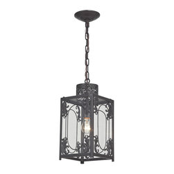 Sterling Industries - Belwood 1 Light Pendant in Aged Bronze - Belwood-Rustic Iron Lantern with Filigree Detail by Sterling Industries