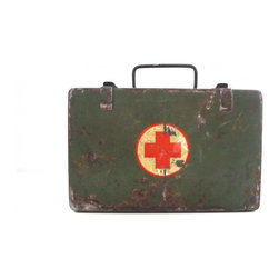 Military First Aid Kit - A military metal first aid kit box, in industrial army green with metal clasps and red cross on top and small metal handle.