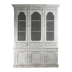 Kathy Kuo Home - Heritage Antique White Mesh Front French Style Grand Display Cabinet - A grand display case with French Country panache will be the focal point of your kitchen or dining area. Constructed from solid elm and finished in antique white with three metal wire doors to house your china and collectibles. Below the display area are three doors housing extra shelves for more storage. The large, decorative crown molding heightens the piece to impressive proportions.