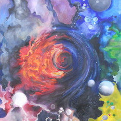 Abyss (Original) by Alexandra Aponte - This is a piece that can be hung in any direction. I have been working on this painting on and off for years. It was my first proud DIY fabric (canvas) stretch over a wooden frame. Although it was difficult to try and imitate the beauty of the galaxy, here is my interpretation of extraordinary events that take place like stars dying or new planets forming and black holes taking over. This piece will come ready to hang.