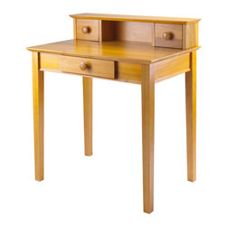 Winsome Wood - Winsome Wood Studio Writing Desk w/ Hutch - Writing Desk w/ Hutch belongs to Studio Collection by Winsome Wood This old-fashioned writing desk is updated with a sturdy frame and the sleek Honey Pine finish. The three drawers and shelf space provide plenty of room to store all of your stationery supplies. Mix and match with the rest of the Studio Home Office line. Desk (1)