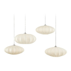 """Possini Euro Design - Possini Euro Cocoon Multi Swag Pendant Chandelier - The beautiful """"cocoon"""" style shade of this white ceiling light can be expanded or contracted in size as you see fit. The ribbed white shade is designed to adjust to your decor and space needs: make it low and wide for spaces with low ceilings or make it tall and narrow for rooms with higher ceiling clearances. Brushed nickel finish frame and accents. Hard-wired swag chandelier design. From Possini Euro Design. White cocoon adjustable pendant light. Brushed nickel finish frame. Four maximum 60 watt bulbs (not included). Shades are 15 1/2"""" wide 6 1/4"""" high. Includes 12' of wire. Canopy is 5"""" wide. Comes with four 3 1/2"""" stand offs. Hang weight is 9 lbs.  White cocoon pendant light.  Hard-wired swag chandelier.  Adjustable hang height on each swag.  Brushed nickel finish frame.  Create drama with this large chandelier.  Four maximum 60 watt bulbs (not included).  Shades are 19"""" wide 6 1/4"""" high.  Includes 12 feet of wire.  Canopy is 5"""" wide.  Comes with four 3 1/2"""" stand offs.  Hang weight is 9 lbs."""