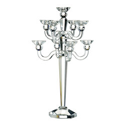 Kathy Kuo Home - Elea Hollywood Regency Modern Crystal 9 Arm Candelabra - Infuse glamour and sophistication into your home with this stunning candelabra. Made from solid crystal, the mirrored piece holds nine standard taper candles, ideal for illuminating your bedside or dining experience. What a striking way to ignite romance.