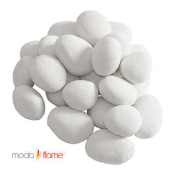 Moda Flame - Moda Flame 24 Piece Ceramic Fireplace Pebble Set in White - Moda Flame 24 Piece Ceramic Fireplace Pebble Set in White Give prominence to your current fireplace with the Moda Flame 24 piece ceramic pebble set. This ceramic pebble set is designed of finest quality light weight ceramic fibers that can sustain temperatures of 1000 Degree Celsius and will not scratch or harm the surface of the fireplace. Pebble Set (24 Pieces)