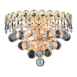 Elegant Lighting - Elegant Lighting 1901W12G Century 2-Light Crystal Wall Sconce, Finished in Gold - Elegant Lighting 1901W12G Century 2-Light Crystal Wall Sconce, Finished in Gold with Clear CrystalsElegant Lighting 1901W12G Features: