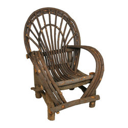 Mexican Artisans - Teton Twig Arm Chair - Call it cabin couture! This charming hand-crafted armchair, fashioned from willow tree branches, brings comfort and character to your favorite rustic setting, indoors or out. For outdoor use, we recommend coating with a weather resistant sealing product every two years. Like the hands that make them, each twig arm chair is unique. Please expect slight variations in size and wood character in these hand crafted chairs.   Pair with our twig love seat and Guatemalan embrodiered pillows for a unique and eye catching sitting area. Truly versatile, rustic twig furniture looks equally at home in a mountain lodge, contemporary lakeside home, farmhouse porch, beach cottage or city roof top garden.