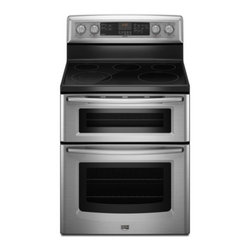 """Maytag - Gemini Series MET8665XS 30"""" Freestanding Electric Range With 5 Radiant Elements - Prepare multiple dishes at once with this range that features a 25 cu ft capacity upper oven and a 42 cu ft capacity lower oven Five burners provide 100-3200 watts of power to meet various cooking requirements"""